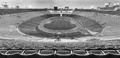 Los Angeles Memorial Coliseum during an L.A. Express-Denver Gold game in May 1985, which drew an official attendance of slightly over 3,000