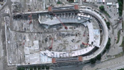 Soldier Field shown during the 2002-03 reconstruction